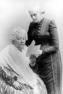 Shown with fellow women's rights activist, Elizabeth Cady Stanton