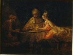 Ahasuerus and Haman at the Feast of Esther, by Rembrandt